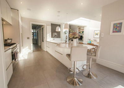 Penman Interiors Dulwich London Kitchens White Grey Tile Flooring
